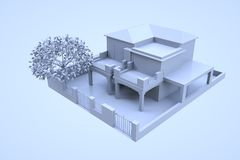 3D Building in Motion. Nice 3D Rendering Royalty Free Stock Image