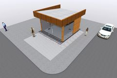 3D building render in Armenia. 3D house drawing line, exterior design,  3D home, rendering residential, building, caffe, mini park Stock Photo