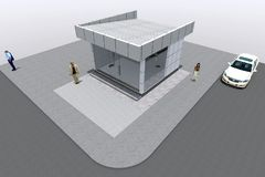3D building render in Armenia. 3D house drawing line, exterior design,  3D home, rendering residential, building, caffe, mini park Royalty Free Stock Images