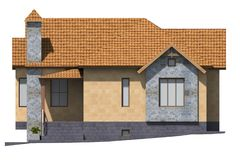 3D building render in Armenia. 3D house drawing line, exterior design,  3D home, rendering residential, building, caffe, mini park Stock Photography