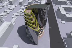 3D building render. 3D house drawing line, exterior design,  3D home, rendering residential, building, caffe, mini park Stock Photos
