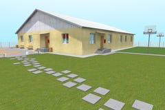 3D building render. 3D house drawing line, exterior design,  3D home, rendering residential, building, caffe, mini park Stock Photo