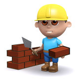 3d Building a wall. 3d render of a builder laying bricks Stock Photos
