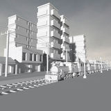 3d buildings. 3d rendering of model building in the background in black and white Stock Image