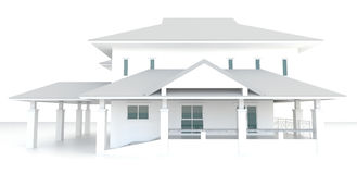 3D buitenontwerp van de wit huisarchitectuur op witte achtergrond Royalty-vrije Stock Afbeeldingen