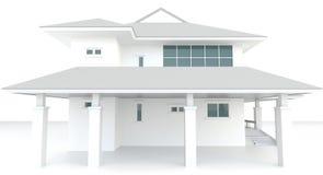 3D buitenontwerp van de wit huisarchitectuur in whi Stock Foto's