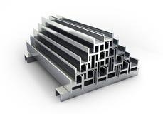 3d buizen en de profielen van het illustraties vierkante metaal die op whi worden geïsoleerd Stock Afbeelding