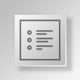 3D bullet points icon Business Concept. 3D Symbol Gray Square bullet points icon Business Concept Royalty Free Stock Photography