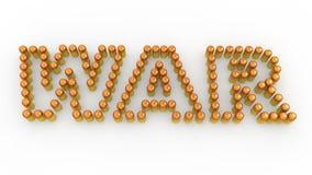 3d bullets arranged to form word war. 3d render of bullets arranged to form word war Stock Photography