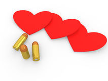 3d bullets and hearts Royalty Free Stock Photo