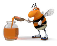 3d bumblebee with a honey can. The striped insect tries to fly up to depart behind honey Royalty Free Stock Photography