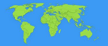 3D map of the world Royalty Free Stock Photo