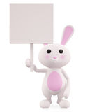 3D Bunny with board illustration. Illustration of 3D Bunny with board Stock Image