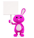 3D Bunny with board illustration. Illustration of 3D Bunny with board Royalty Free Stock Photo