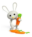 3d Bunny with carrot Stock Photo