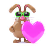 3d Bunny loves pink. 3d render of a rabbit holding a pink heart Royalty Free Stock Photos