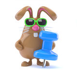 3d Bunny pin. 3d render of Easter bunny with giant blue pin Royalty Free Stock Photo