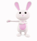 3D Bunny with presenting Stock Photography