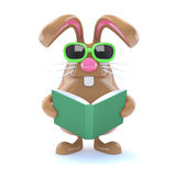 3d Bunny reads a book Stock Images