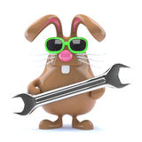3d Bunny repair. 3d render of Easter bunny holding a spanner Stock Photography