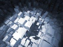 3d bureaugebouwen in schijnwerper, 3d illustratie Stock Foto's