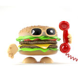 3d Burger answers the phone. 3d render of a beefburger answering the telephone Royalty Free Stock Image