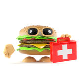 3d Burger arives with first aid Stock Images