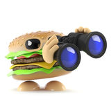 3d Burger with binoculars. 3d render of a burger holding a pair of binoculars Royalty Free Stock Photo