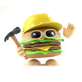 3d Burger builder. 3d render of a beefburger wearing a hard hat and holding a hammer Royalty Free Stock Photo