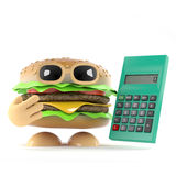 3d Burger with a calculator. 3d render of a beefburger holding a calculator Royalty Free Stock Photos