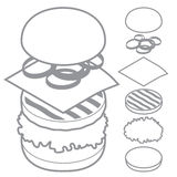 3d Burger, Cheeseburger, Satz Bestandteilbrot Lizenzfreie Stockfotos