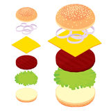 3d burger, cheeseburger, set of ingredients bread, meat, cheese Stock Image