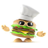 3d Burger chef. 3d render of a burger wearing a chefs hat Royalty Free Stock Photo