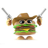 3d Burger cowboy. 3d render of a beefburger dressed as a cowboy firing two pistols in the air Stock Photo