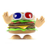 3d Burger at the 3d movie. 3d render of a beefburger wearing 3d glasses Royalty Free Stock Photography