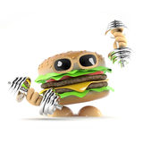 3d Burger dumbells. 3d render of a burger working out with dumbells Stock Image