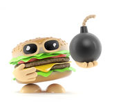 3d Burger has a bomb. 3d render of a beefburger holding a bomb Stock Images