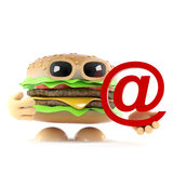 3d Burger has an email address. 3d render of a beefburger holding an email address symbol Royalty Free Stock Photos