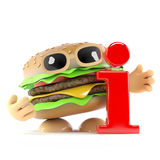3d Burger has information. 3d render of a beefburger with a information symbol Royalty Free Stock Photos