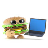 3d Burger has a new laptop pc. 3d render of a beefburger with a new laptop pc Stock Photo