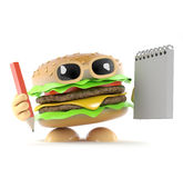 3d Burger has a notepad and pencil. 3d render of a beefburger holding a notepad and pencil Stock Photos