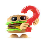 3d Burger has a question Royalty Free Stock Photography