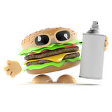 3d Burger has a spraycan of paint Royalty Free Stock Photography