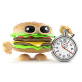 3d Burger has a stopwatch Stock Photography