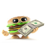 3d Burger has a wad of US Dollars. 3d render of a beefburger with a wad of US Dollars Royalty Free Stock Images