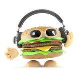 3d Burger headphones. 3d render of a burger wearing headphones Royalty Free Stock Image
