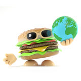 3d Burger holding a globe of the Earth. 3d render of a beefburger holding a globe of the Earth Royalty Free Stock Photography