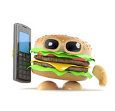 3d Burger holding a mobile phone. 3d render of a beefburger holding a mobile phone Royalty Free Stock Photo