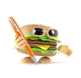 3d Burger holding a pen Royalty Free Stock Photos