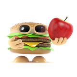3d Burger holds an apple. 3d render of a beefburger holding a red apple Royalty Free Stock Images